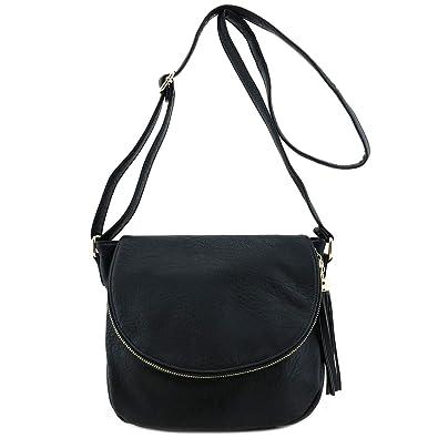 7bd8e967592e Tassel Accent Crossbody Bag with Flap Top Black  Handbags  Amazon.com