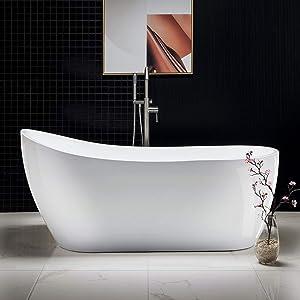 WOODBRIDGE White Freestanding Bathtub B-0001/BTA1508, 67