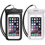 Universal Waterproof Case, CHOETECH 2 Pack Clear Transparent Cellphone Waterproof, Dustproof Dry Bag with Neck Strap compatib
