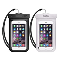 Universal Waterproof Case, CHOETECH 2Pack Clear Transparent Cellphone Waterproof, Dustproof Dry Bag with Neck Strap compatible with iPhone X/XS/XS Max/XR, iPhone 8/8 Plus/7/7 Plus/6s/6s Plus, Samsung Galaxy S9//S8/S7 and All Devices Up to 6 Inches