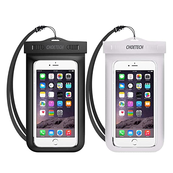 buy popular 8517d bc774 CHOETECH Universal Waterproof Case, 2Pack Clear Transparent Cellphone  Waterproof, Dustproof Dry Bag with Neck Strap for iPhone 8, 8, Plus, 7, 7  Plus, ...