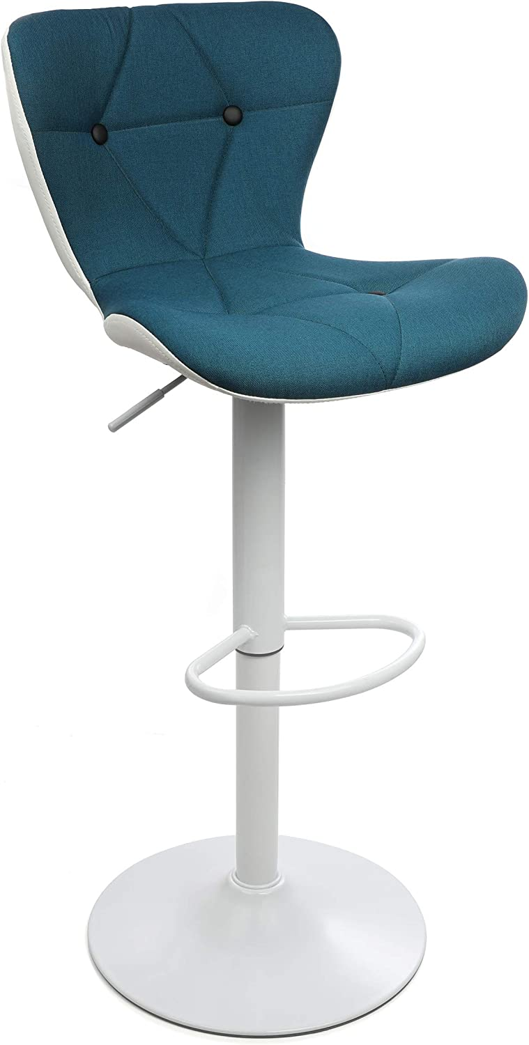 Halter Modern Adjustable Height Bar Stool with Backrest and Footrest, Counter Height Swivel Stool, Blue and White