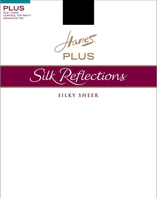 Hanes Women's Silk Reflcton Plus Sheer Control Top Pantyhose