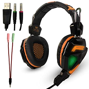 KOTION EACH G5000 Gaming Auriculares Estéreo Mejores Juego de Auriculares Auriculares con Micrófono Mic/LED