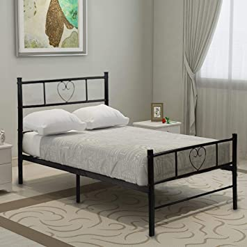 Aingoo Metallbett mit Kopfteil Bettgestell 90 x 190 cm Einzelbett ...