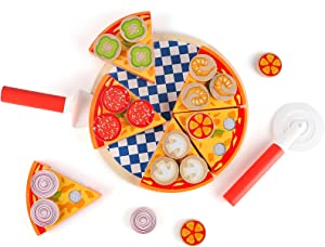 Steventoys Wooden Pizza Puzzle,Pretend Play Food Toys,Kids Pizza Set,Cooking Kitchen Simulation Educational Montessori Toys for Kids Ages Over 3 Years