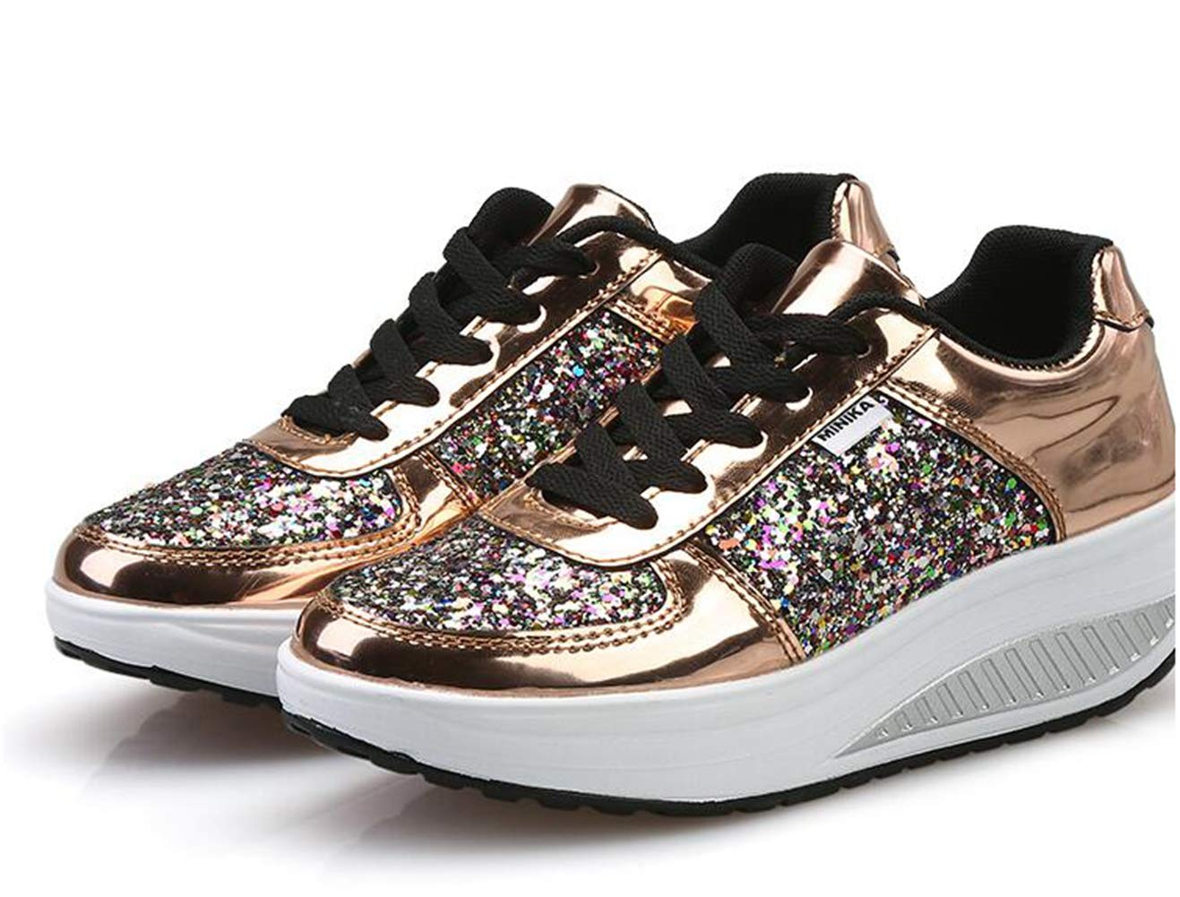 3cbd210252146 Amazon.com: DETAIWIN Women Casual Wedges Walking Shoes Slip On Lace ...