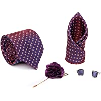 Axlon Men Formal/Casual Jacquard Neck Tie Pocket Square Accessory Gift Set with Cufflinks and Lapel Pin - Purple (Free Size)