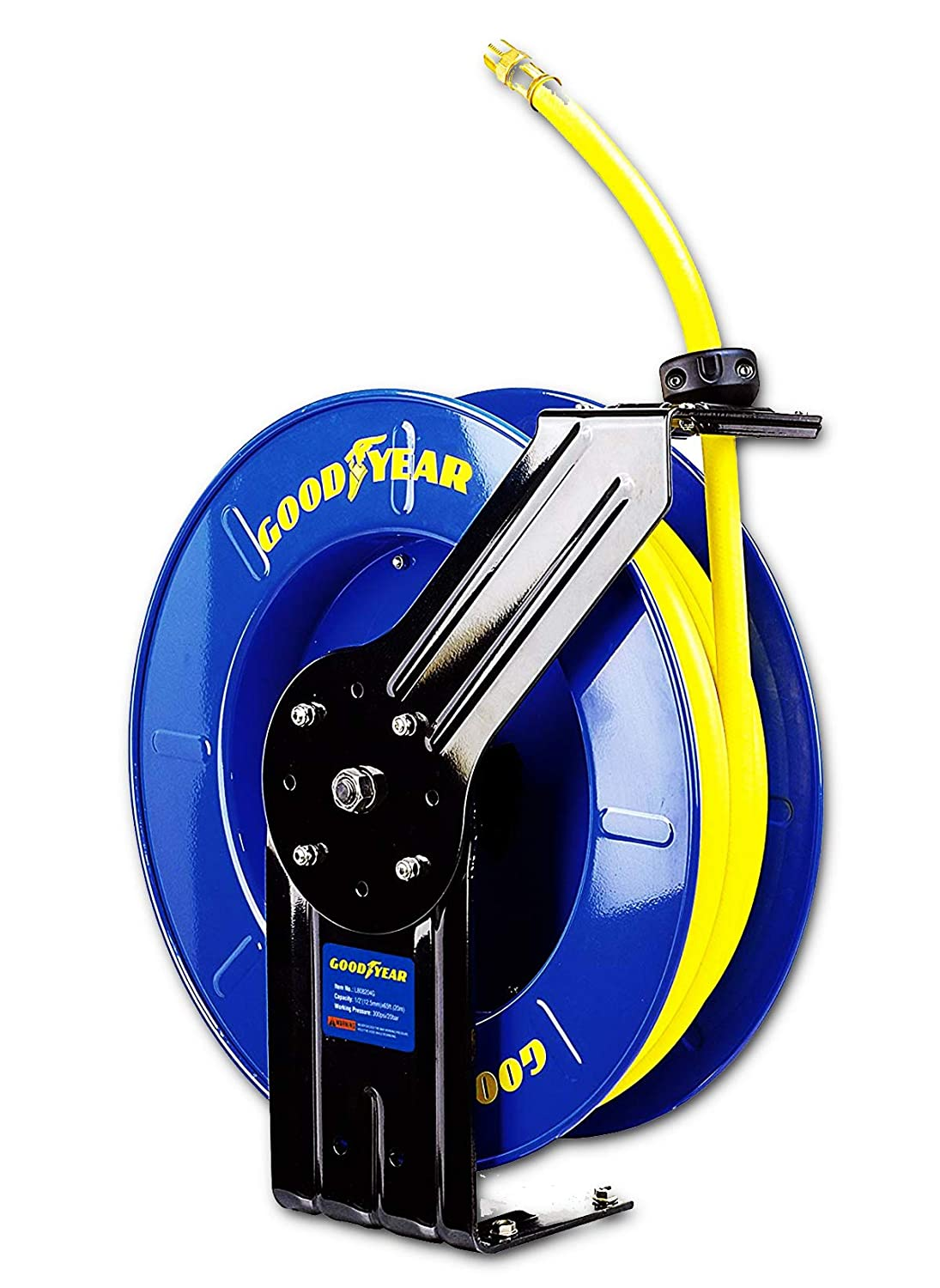 """GOODYEAR Air/Water Hose Reel Retractable Spring Driven 1/2"""" Inch x 65' Feet Extra Long Premium Commercial SBR Hose Max 300 Psi Reinforced Steel Construction Heavy Duty Industrial Single Arm & Base"""