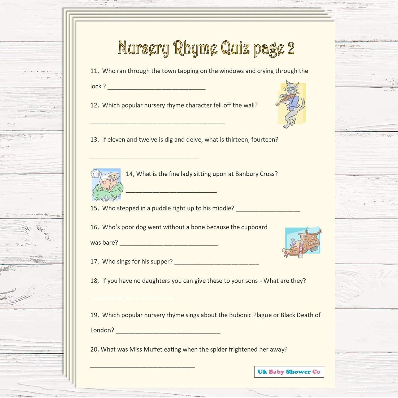 Baby Shower Game 20 Guest Pack Nursery Rhyme Quiz