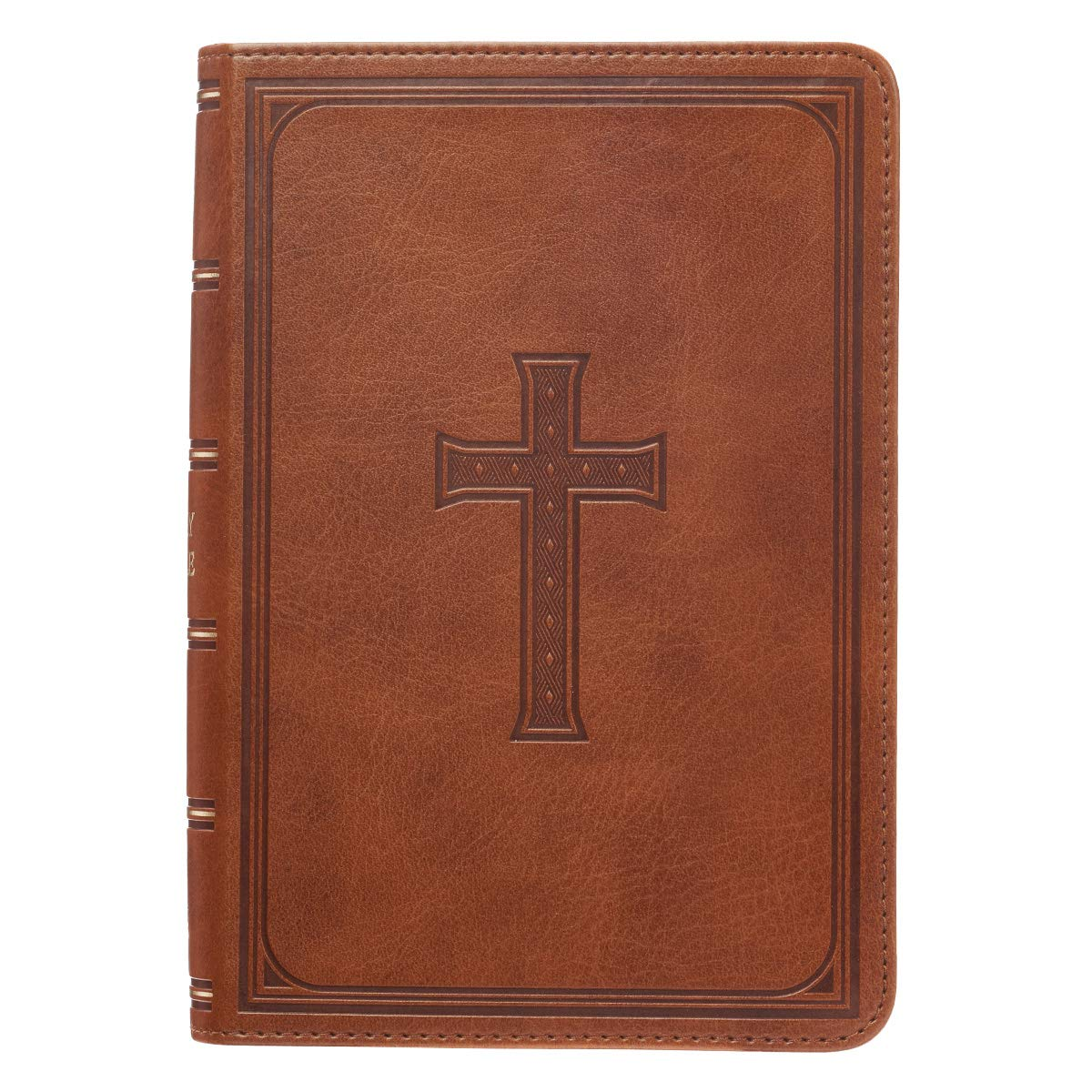 KJV Holy Bible, Large Print Compact Bible, Tan Faux Leather Bible w/Ribbon Marker, Red Letter Edition, King James…