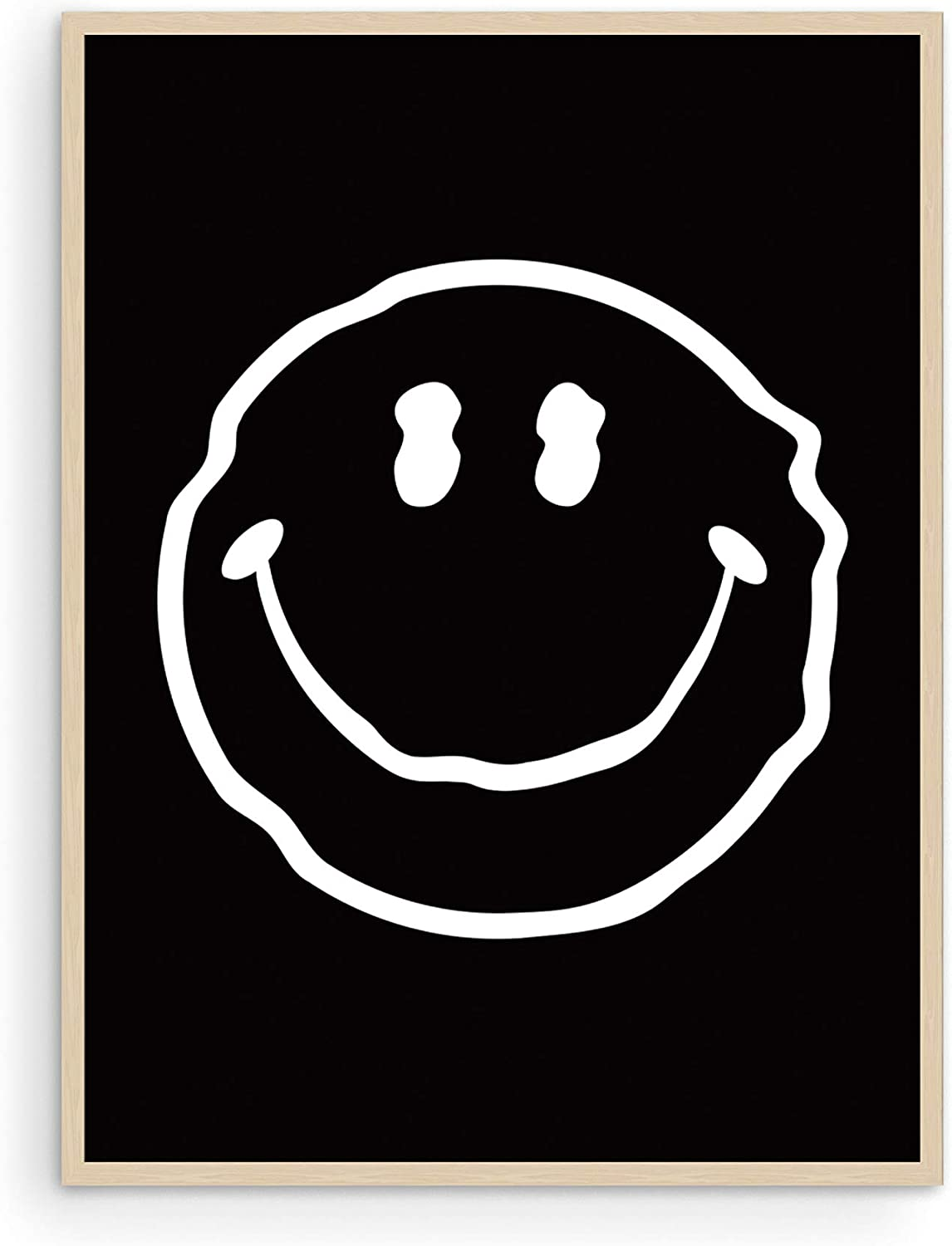 """Trippy Posters Black Smiley Face Poster - By Haus and Hues 