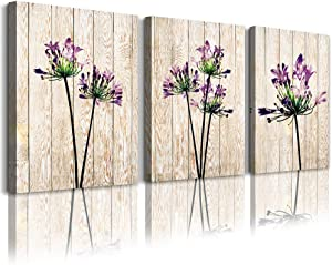 "Canvas Wall Art for living room bathroom Wall Decor for bedroom kitchen artwork Canvas Prints Purple flowers painting 12"" x 16"" 3 Pieces Wood grain Modern framed office Home decorations family picture"