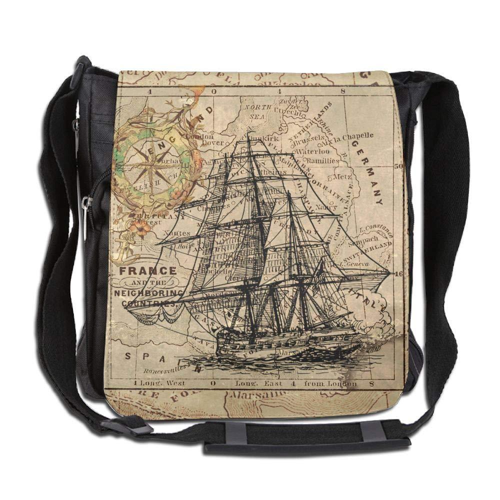 SARA NELL Messenger Bag,Nautical Chart,Unisex Shoulder Backpack Cross-body Sling Bag