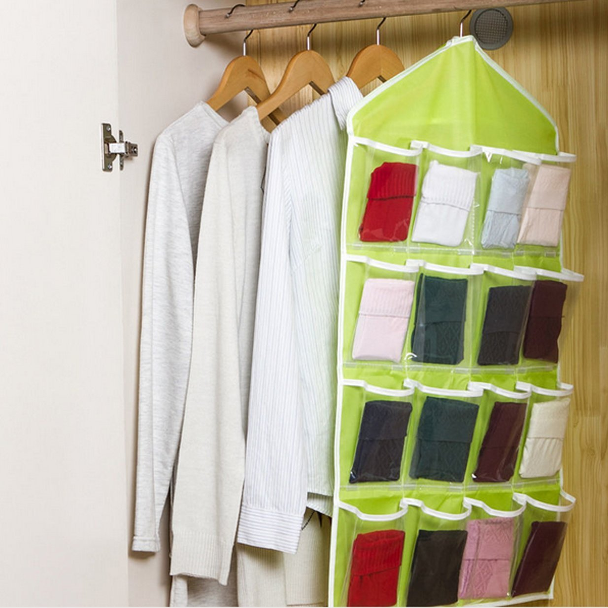 green Lalang 16 Lots Socks //Jewelry//Underwear Hanging Storage Pockets Bags Closet Space Storage