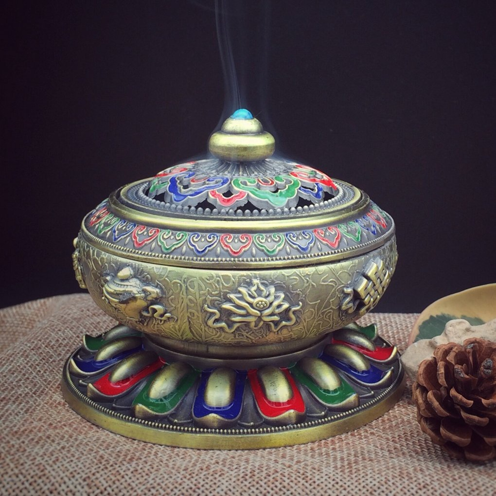 BXT Vintage Alloy Bronze Incense Burner Home Decor Auspicious Lotus Tibet Incense Burner Holder Fit for Stick Cone Coil Incense