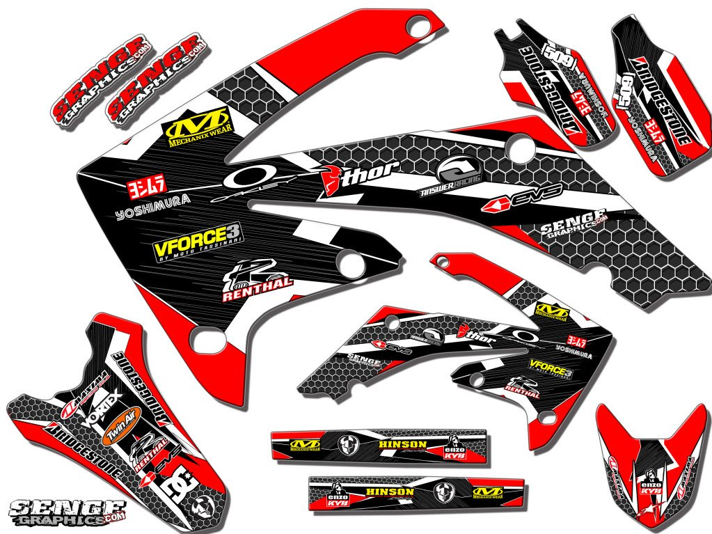 Senge Graphics 2003-2007 Honda CRF 150F/230F Podium Red Graphics kit Senge Graphics Inc. COMINU026811