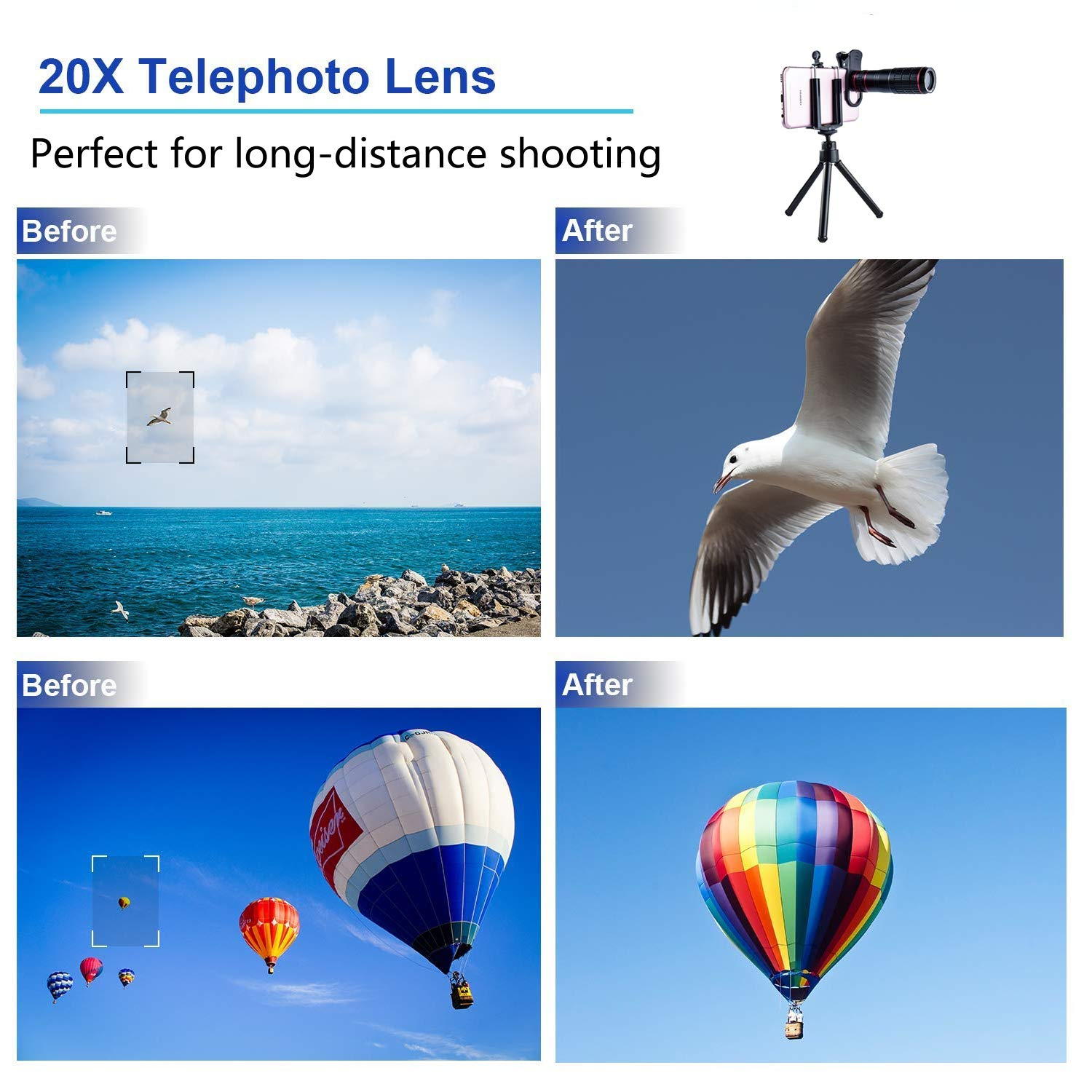 DDcafor Universal Smartphone Telephoto Camera Lens Kit Compatible with Android iPhone Series 20x Focus 15x Macro /& 180/° Fisheye Lens Adjustable Clip HD Night Shot