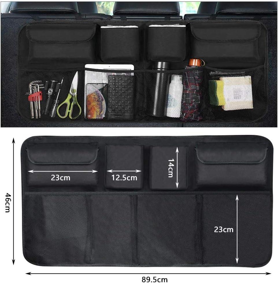 Car Auto Hanging Back Seat Storage for SUV YANSHON Car Backseat Trunk Organizer Truck Super Capacity Truck Organizer Black