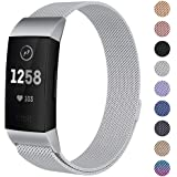 Milanese Mesh Metal Bands Compatible for Fitbit Charge 3 / Charge 3 SE Bands Women Men Small/Large, Replacement Stainless Steel Accessory Watch Wrist Straps (Large, Silver)