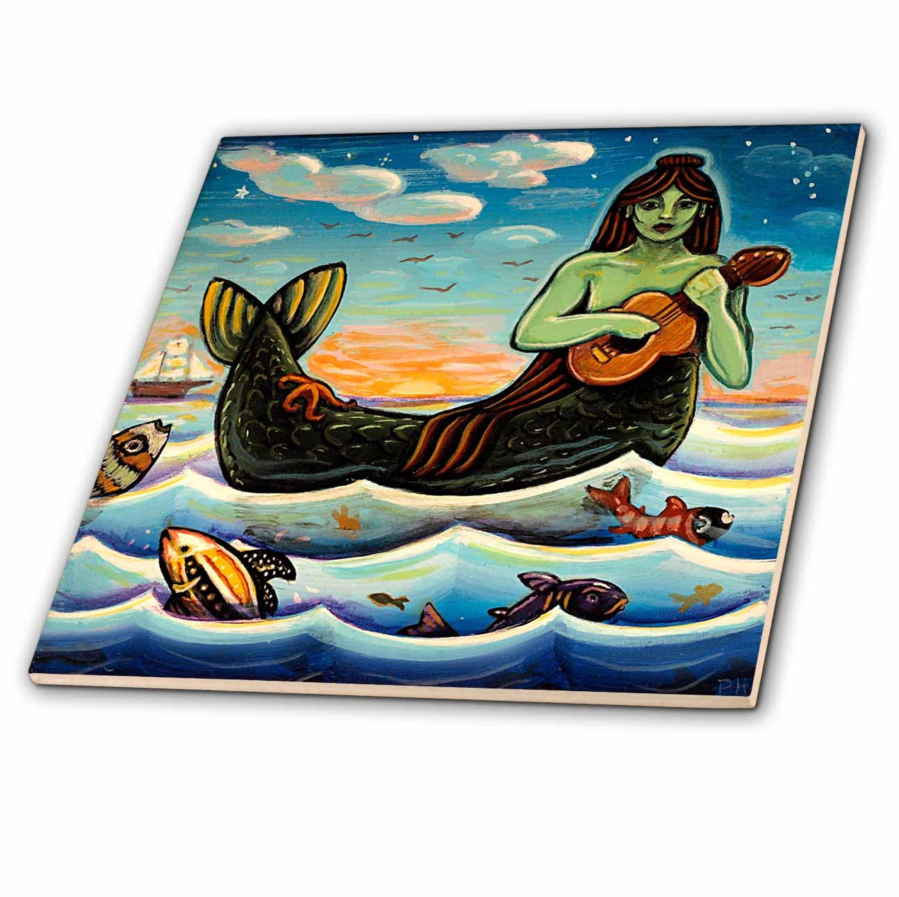 3dRose ct_21204_4 Mermaid Woman Water Ocean Folk Folklore Ceramic Tile, 12-Inch