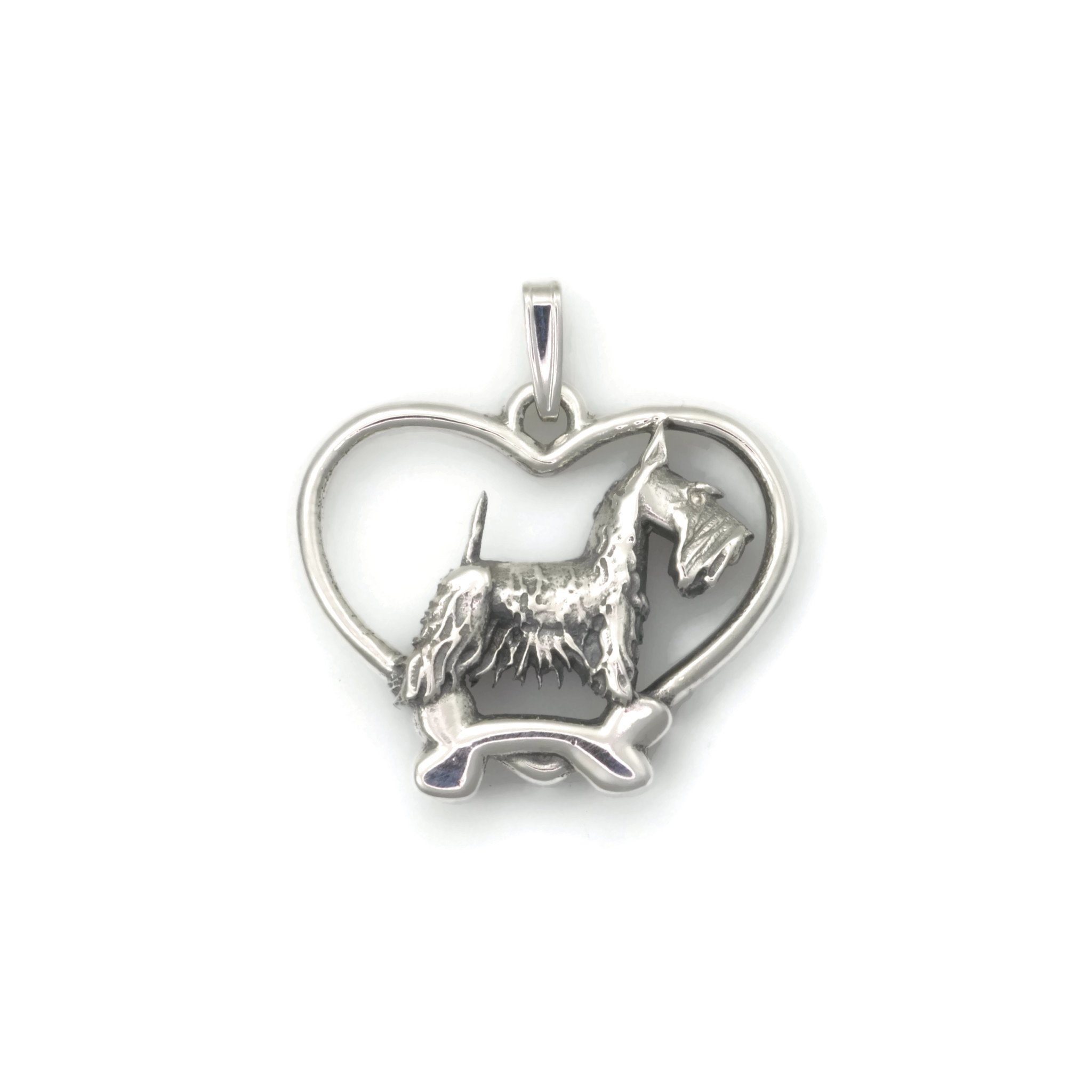 Sterling Silver Scottish Terrier Pendant, Silver Scottie Necklace, Fine Scottish Terrier Jewelry fr Donna Pizarro's Animal Whimsey Collection