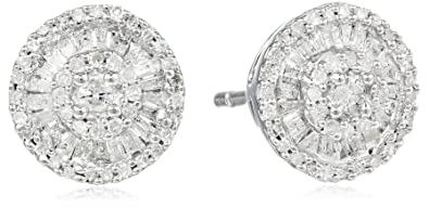 59eaa8a75 Image Unavailable. Image not available for. Color: Sterling Silver Diamond  Round Stud Earrings (1/2 cttw)