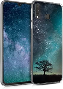 kwmobile Case Compatible with Samsung Galaxy A40 - TPU Crystal Clear Back Protective Cover IMD Design - Cosmic Nature Blue/Grey/Black