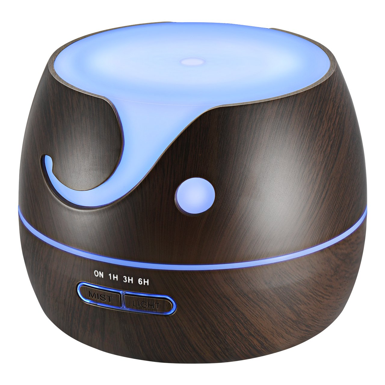 VicTsing Essential Oil Diffuser, 400ml Cute Elephant Shape Ultrasonic Cool Mist Humidifier with Wood Grain, 7 Color LED Lights & Waterless Auto-Off for Office Home Room Yoga Spa