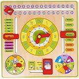 Domybest クロック 木のおもちゃ キッズ 幼児 子供 積み木 はめ込み 形合わせ 幾何 パズル 時計の勉強 ウッドクロック 知育玩具 (B)