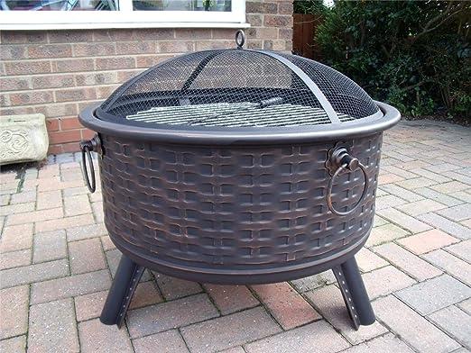 Hoguera de muebles de ratán estilo terrazas calefactor Metal Estufa brasero para barbacoa barbacoa mesa B: Amazon.es: Jardín