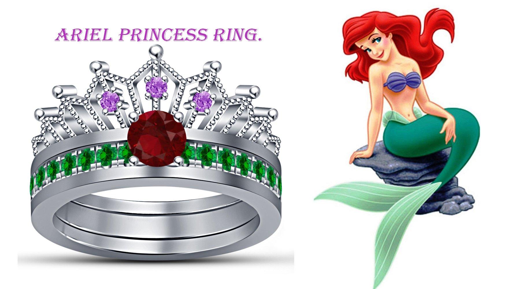 TVS-JEWELS sterling silver 925 white platinum plated ariel princess wedding bridal ring set multi-color (11)