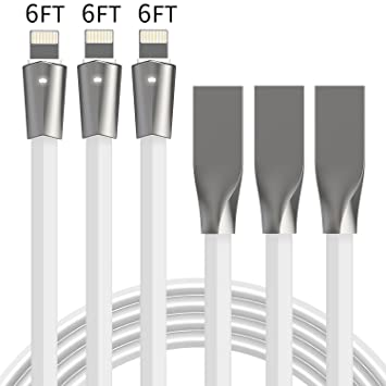 Aimus Lightning Cable iPhone Charger 3 Pack 6FT W/ LED Light Flat Lighting to USB  sc 1 st  Amazon.com & Amazon.com : Aimus Lightning Cable iPhone Charger 3 Pack 6FT W ... azcodes.com