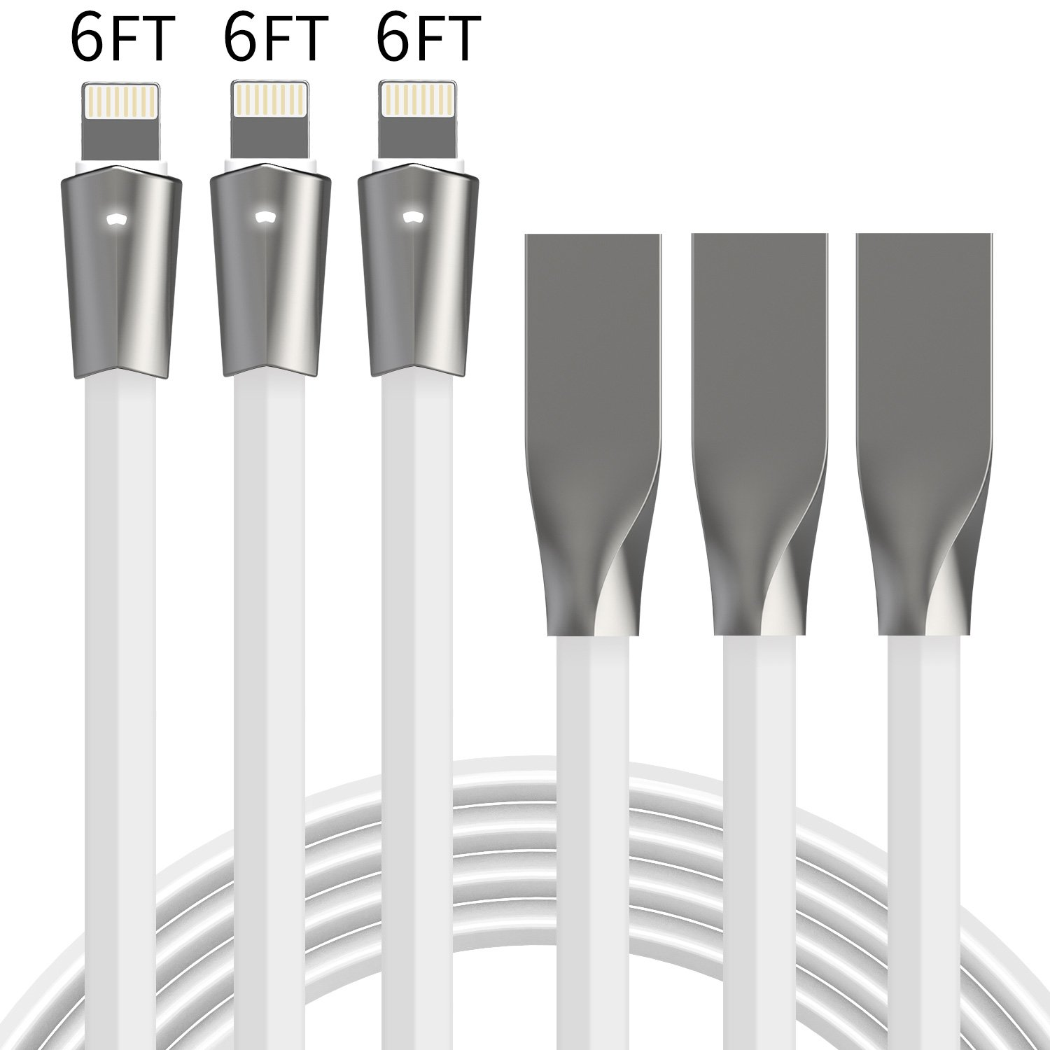 Aimus Phone Charger Cable, 3 Pack 6FT+6FT+6FT Data Cable Line with LED Light USB Charger Cable Gaming Charging Cable Cord Compatible with iPhone X/8/8 Plus/7/7 Plus/6/6s/5/5S, iPad and iPod- White