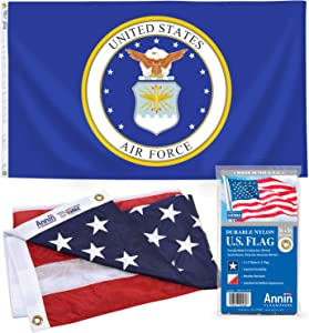 Annin Flagmakers 3x5 ft. Nyl-Glo American Flag and 3x5 ft. Nyl-Glo U.S. Airforce Military Flag Set