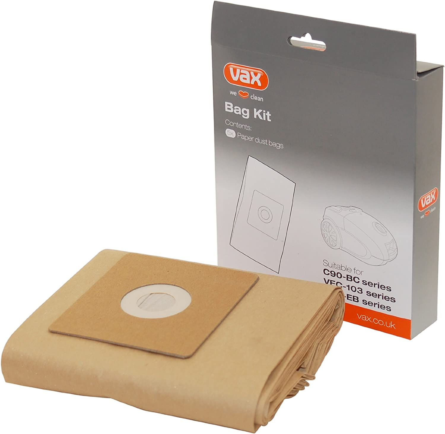 Vax Vacuum Cleaner Paper Dust Bags, Pack of 5. For Essential Cylinder range. Part nunber 1 9 130098 00 1913009800