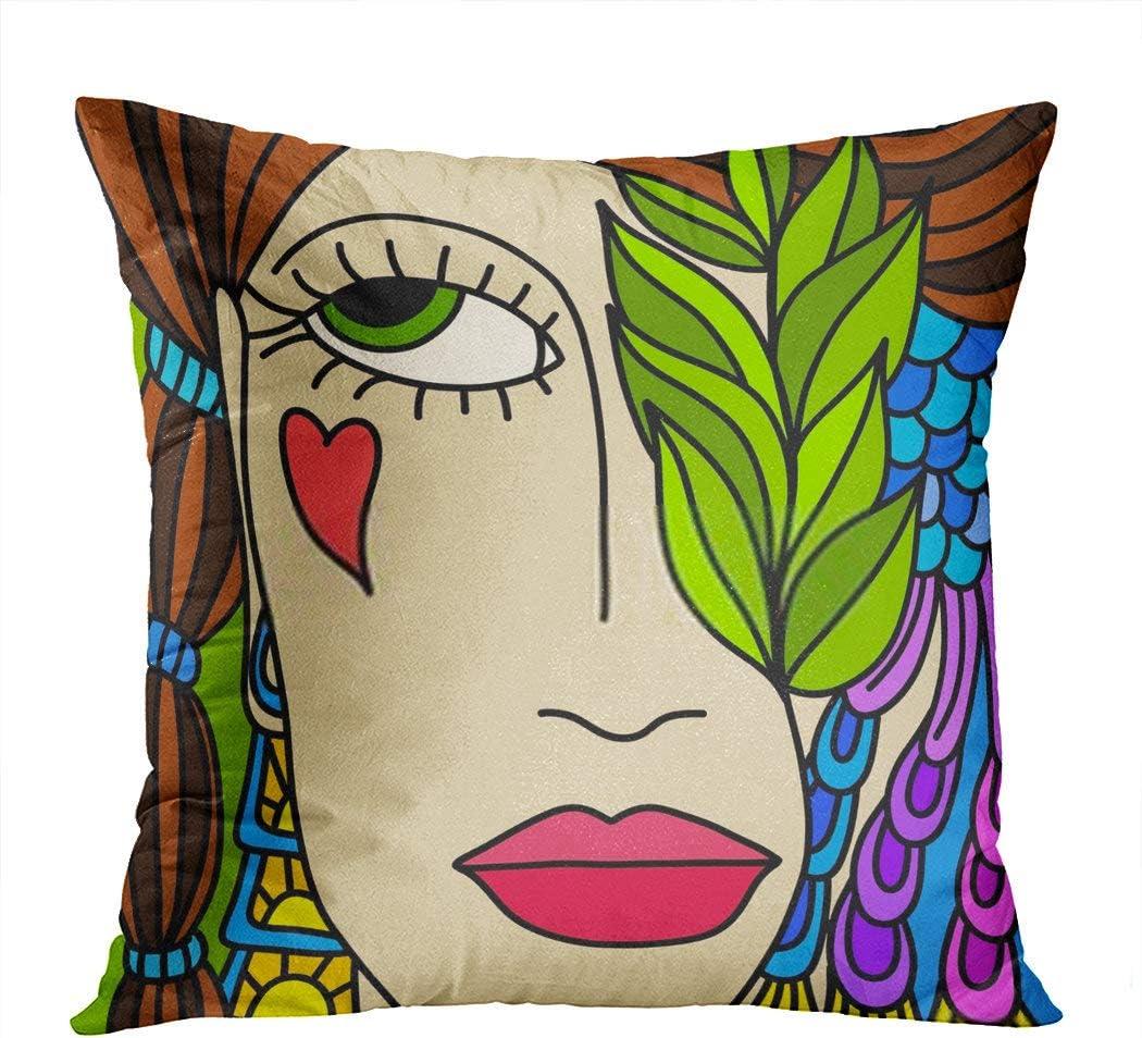 Vooft Throw Pillow Decor Square Hocus Pocus Viso Con Treccia Woman Colorful 20 x 20 Inch Decorative Cushion Cover Printed Pillowcase Cover Home Sofa Living Room
