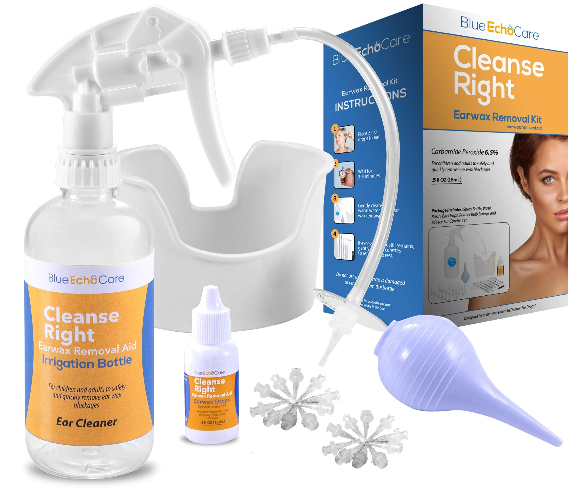 Cleanse Right 2nd Generation Ear Wax Removal Tool Kit - USA MADE 1 Bottle of .5OZ Ear Drops! Irrigation Bottle, 20 Disposable Tips, Wash Basin, Bulb Syringe