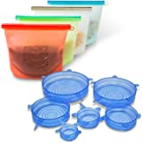Silicone Food Storage Bag - Reusable - Set Of 4 +BONUS - Silicone Stretch Lids 6 pack - Various Sizes - Microwave and Dishwasher Safe
