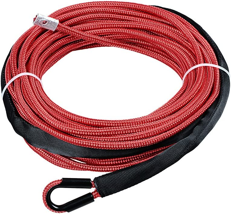 Astra Depot RED 50 x 1//4 7000lbs Synthetic 12-Strand Winch Rope All Heat Guard ATV UTV KFI SUV Car Truck