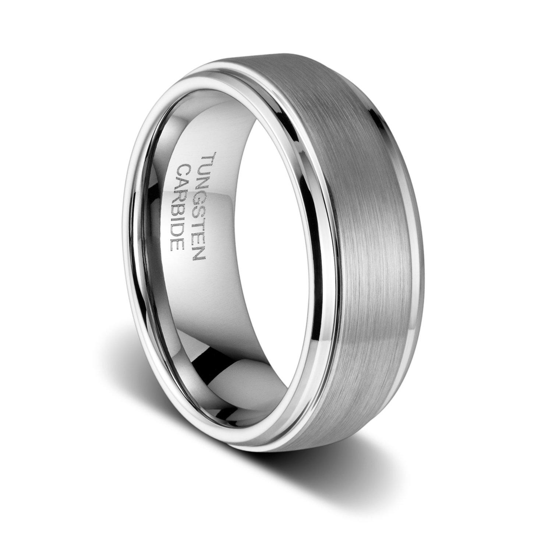 TUSEN JEWELRY 8mm Polished Step Edge Matte Brushed Finish Center Tungsten Ring Wedding Band Size:10
