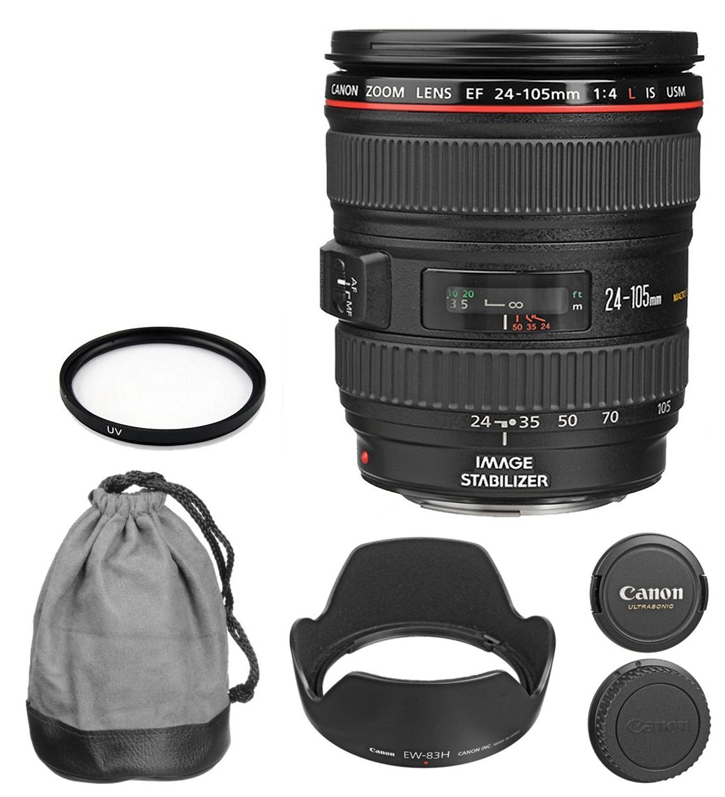 Canon EF 24 – 105 mm f / 4l is USMズームレンズ(ホワイトボックス) for Canon EOS 7d、60d、EOS Rebel sl1、XS、XSI、XT、Xti、t1i、t2i、t3、t3i、t4i、t5iデジタル一眼レフカメラ+ with 77 mm UVフィルタ+アクセサリキット   B01LZJV2MT
