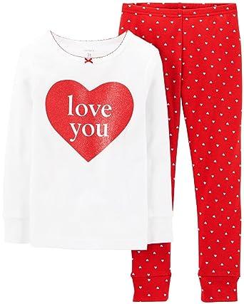 54ebbfc9e Amazon.com  Carter s Little Girls  Valentine 2-Piece Snug-Fit Cotton ...