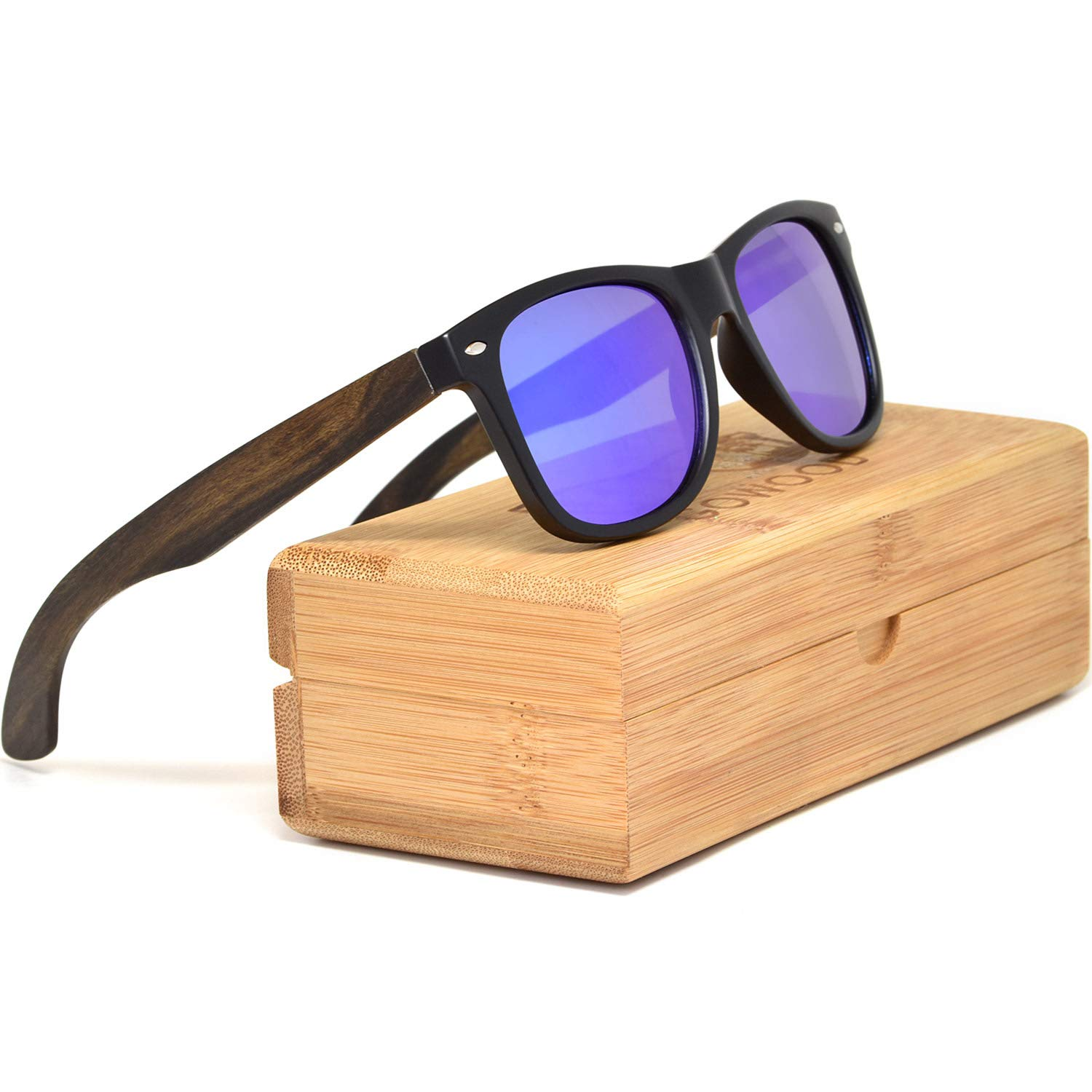 Ebony Wooden Mens and Womens Sunglasses with Matte Black Front and Polarised Lenses