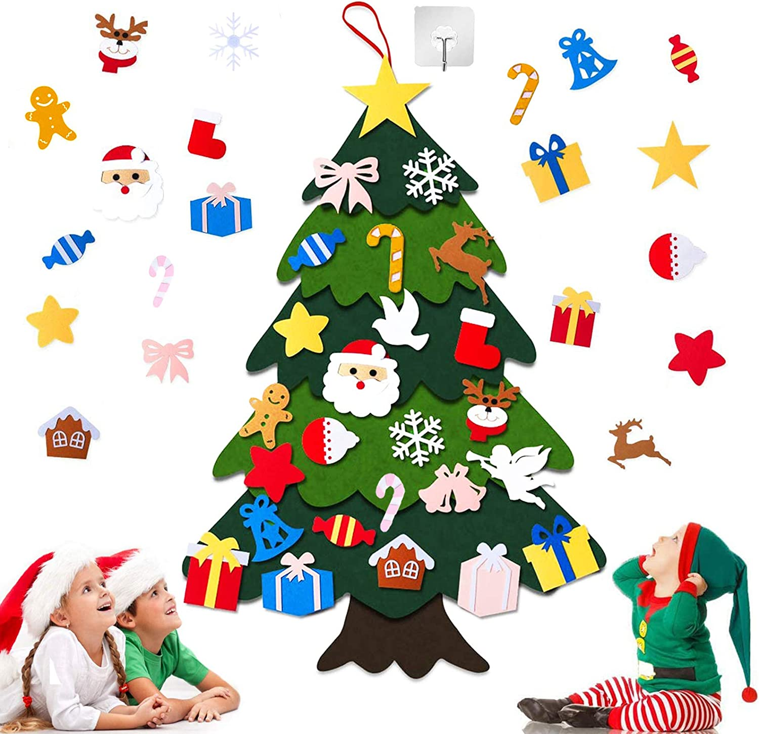 DIY Kids Felt Christmas Tree - 40'' x 30'', 26pcs Lovely Detachable Ornaments, Multilayered Xmas Hanging Decorations Tree for Toddlers, for Home Wall Door Decor Gifts, with 1 Self Adhesive Hook