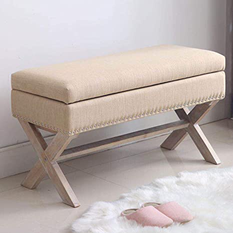 Pleasing Fabric Storage Bedroom Bench Seat For End Of Bed Upholstered 36 Inch Entryway Bench With X Shaped Wood Legs For Living Room Or Hallway Beige Pdpeps Interior Chair Design Pdpepsorg