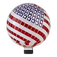 Deals on Alpine Corporation 12-inch Mosaic American Flag Gazing Globe