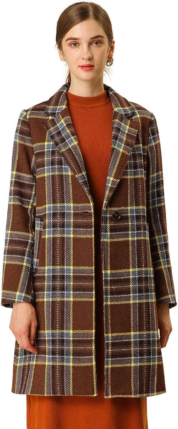 Allegra K Womens Notched Lapel Jacket Winter Long Sleeve Plaid Coat