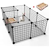 12 Panels Pet Rabbit Bunny Playpen Small Animal Cage Indoor Portable Yard Fence Guinea Pigs, Puppy Kennel Crate Fence Tent With 1PC Pet Bed