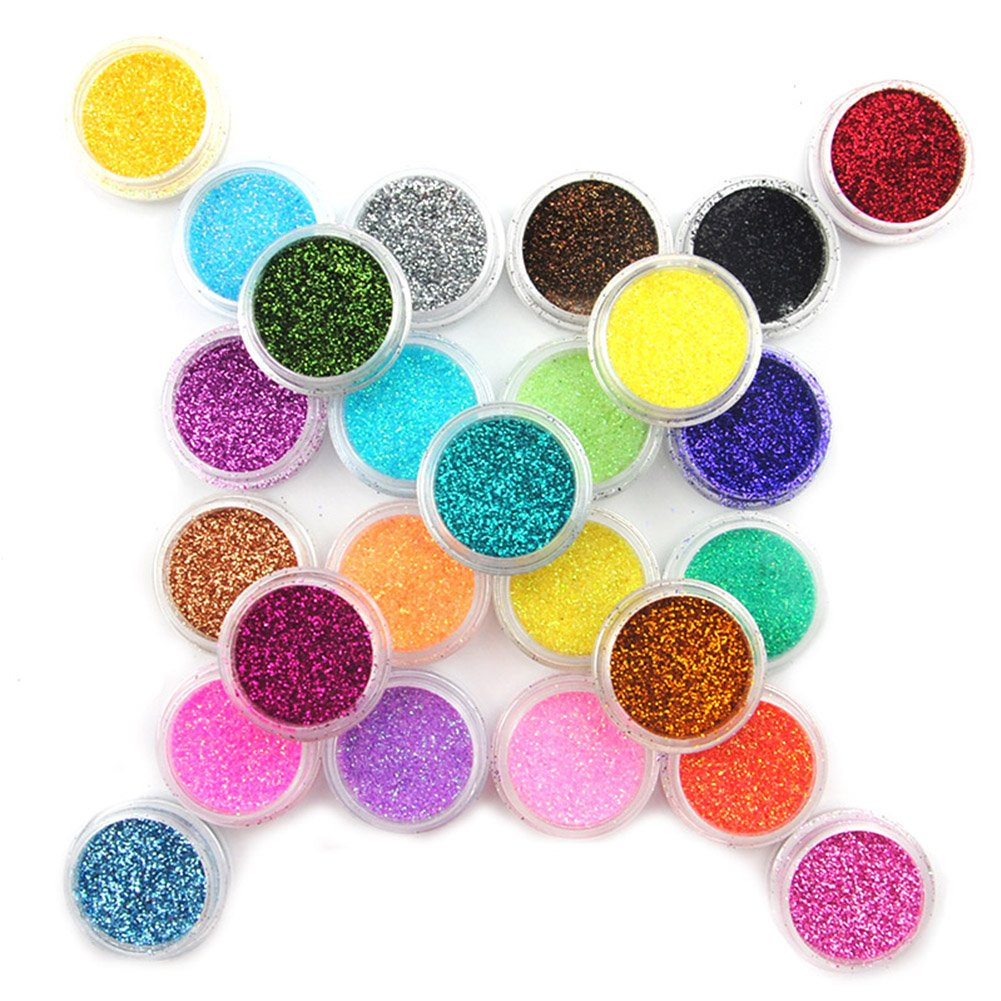 25 Color Metal Glitter Nail Art Dust Tool Kit Acrylic UV Powder Dust gem Polish Nail Tools Nail Art Decoration Nail Glitter Fashiongallery